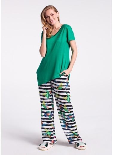 Dagi V Yaka Altı Dokuma Kısa Kollu Pijama Takımı Yeşil